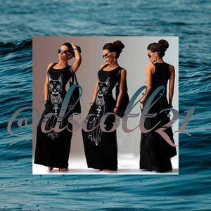 Dresses & Skirts - Egyptian Cat Print Maxi Dress